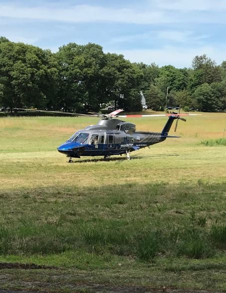 Helicopter in a field