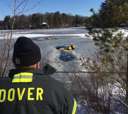 News Rescue drill in frozen lake