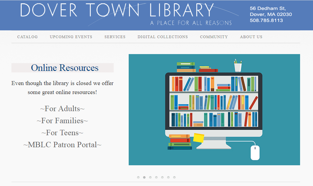 Library webpage image button