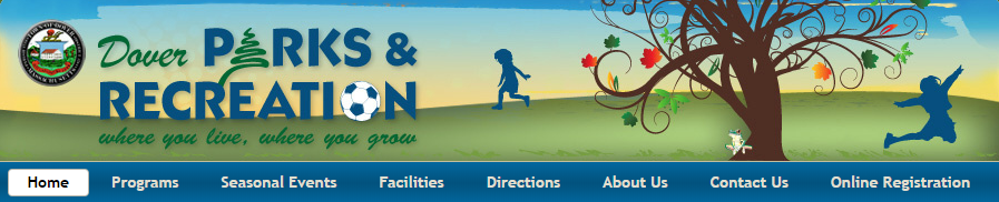 Dover Website Header Image cartoon kids playing under a tree with leaves falling