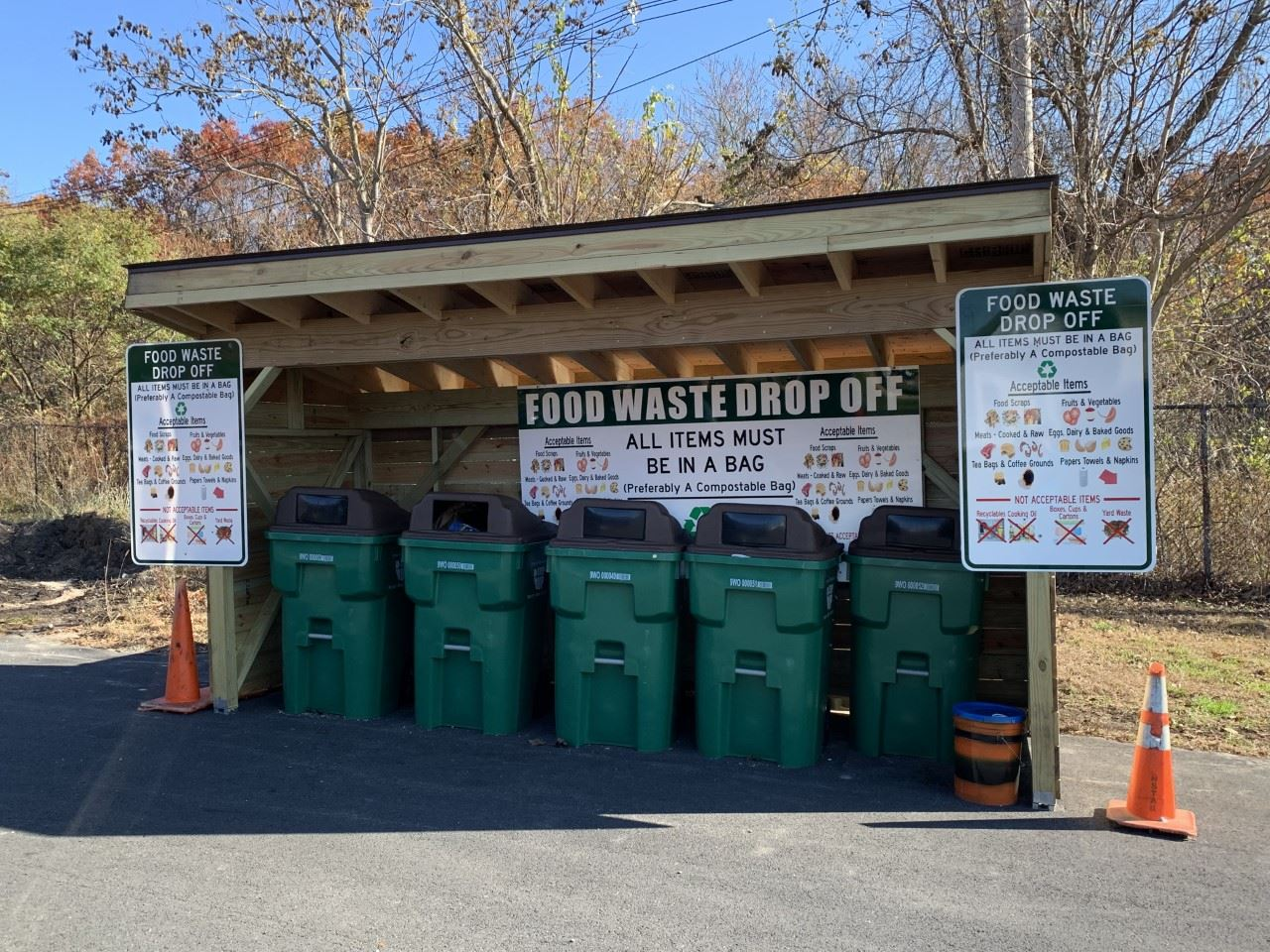 Transfer Station Recycling bins in a row