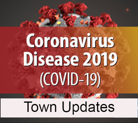 Image of Coronavirus Cell with Town Updates text